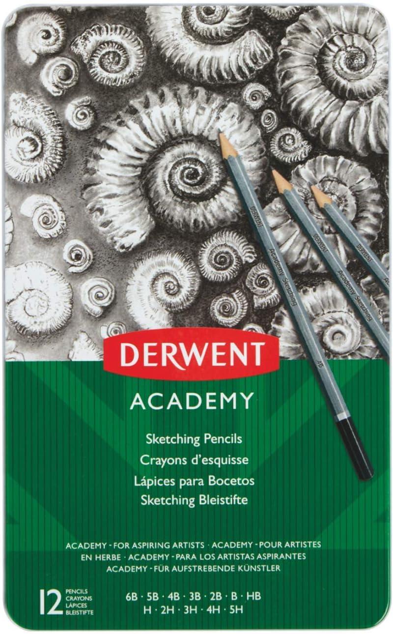 Derwent Academy Tin of 12 Graphite Sketching Pencils 6B 5H Artist College Art