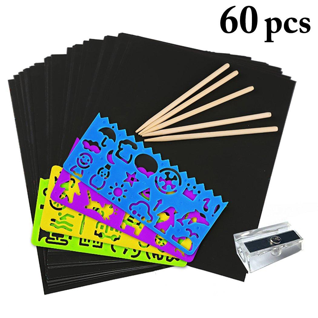 Graffiare Arte Carta, outgeek 50 PCS Graffiare Blocco Di Carta con Scratch Art Fai Da Te con 5 Stilo 4 Stencil e 1 Temperino