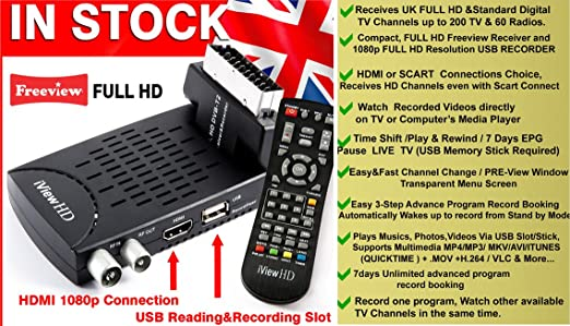 UK FULL HD Scart Freeview HD TV Receiver + FULL HD USB Recorder Tuner  Terrestrial Digibox Analogue to Digital Television Converter HDMI or Scart