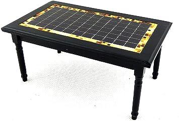 Amazon.es: Melody Jane Casa de Muñecas Negro Incrustación Diseño Mesa Mueble Cocina Comedor Miniatura: Juguetes y juegos