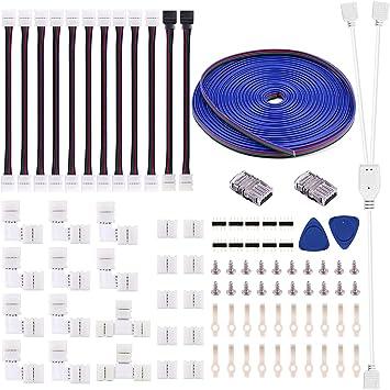 5050 4Pin LED Strip Connector Kit - 10mm RGB LED Connector Kit Includes RGB Extension Cable, 12x LED Strip Jumper, 10x L Connectors, 2X T Connector, 10x Gapless Connectors, 20x LED Strip Clip