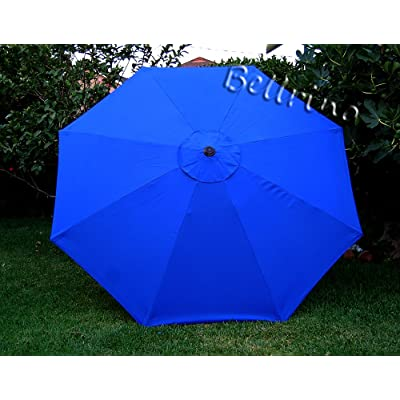 BELLRINO Decor Replacement Royal Blue Strong & Thick Umbrella Canopy for 9ft 8 Ribs (Canopy Only) : Garden & Outdoor