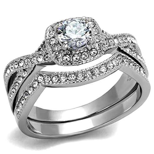 ROUND CUT 81 CT ZIRCONIA STAINLESS STEEL HALO WEDDING RING SET WOMENS Size 5