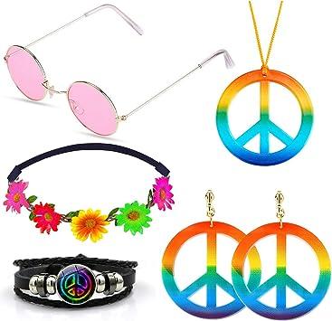 SPECOOL Conjunto de Disfraces Hippies Accesorios Hippies Arcoiris ...