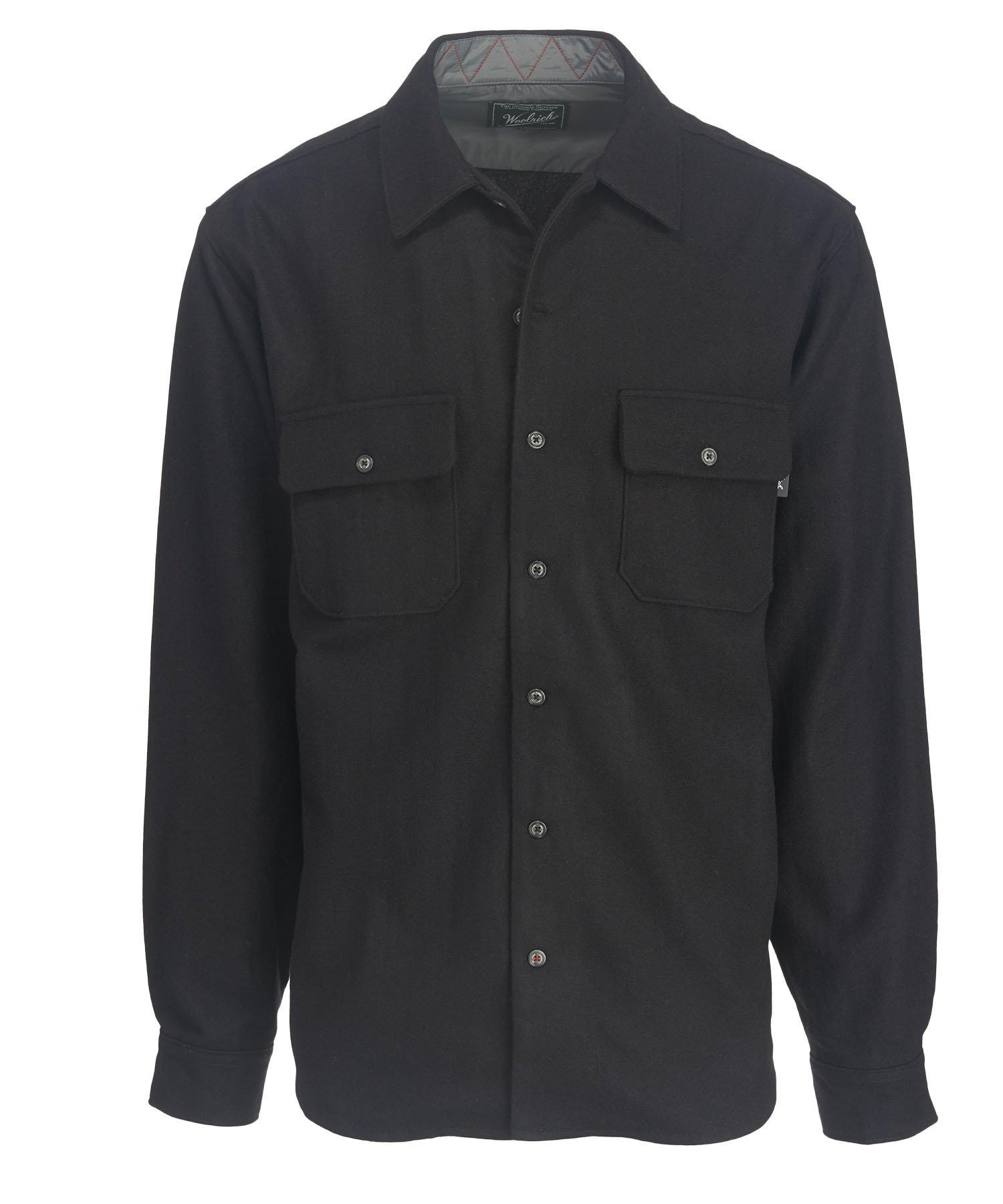 Woolrich Men's Bering Wool Plaid Shirt, Solid Black, Large