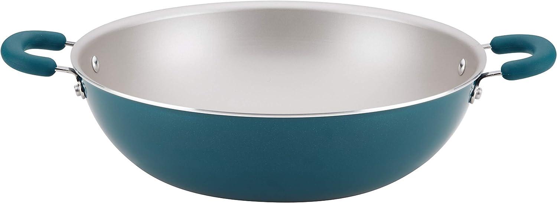Rachael Ray 12162 Create Delicious Nonstick Wok/Stir Fry Pan/Wok Pan - 14.25 Inch, Teal Blue Shimmer