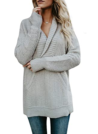 a55494fad6 Womens 2018 New Sexy V Neck Sweaters Fold Over Collar Long Sleeve Solid Knitted  Pullover with