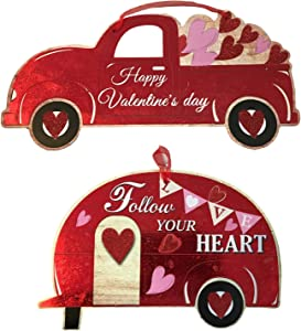 Just4You Valentines Day Decor - Red Truck with Happy Valentines Day and Camper with Follow Your Heart Wall Decorations