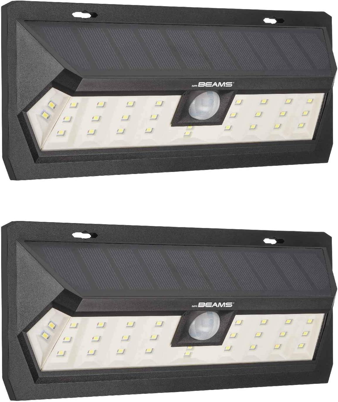 Mr Beams Solar Wedge Max 30 LED Security Motion Sensor Wall Light, 2-Pack, Black