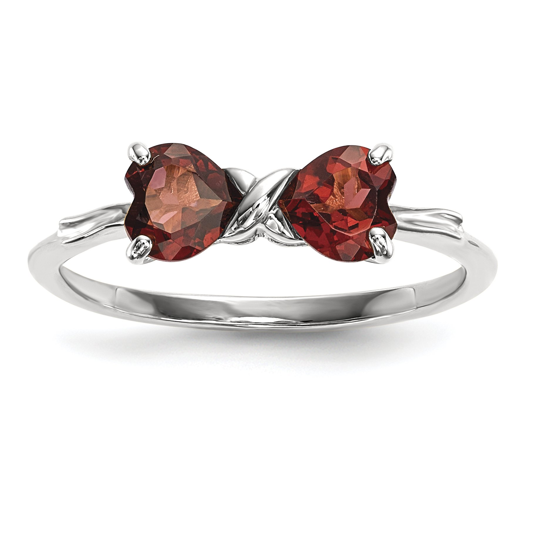 ICE CARATS 14k White Gold Red Garnet Bow Band Ring Size 7.00 Birthstone January Set Style Fine Jewelry Gift Set For Women Heart
