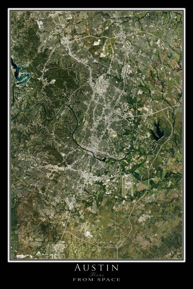 Amazon Com Austin Texas Satellite Poster Map L 24 X 36 Inch