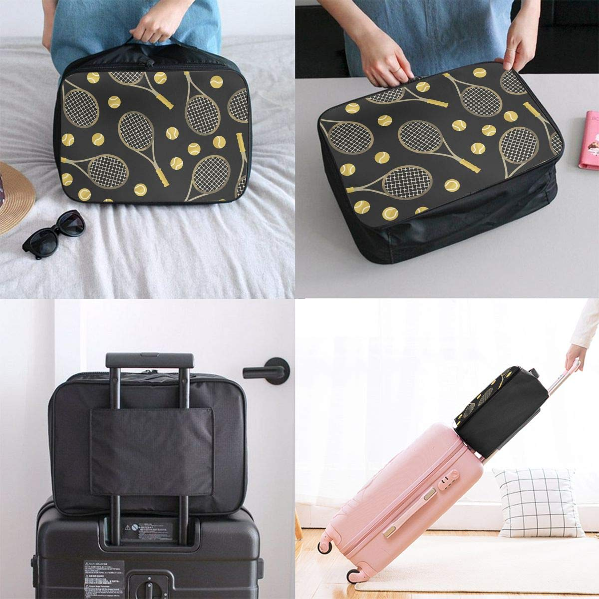 Funny Colourful Tennis Racquets And Tennis Balls Travel Fashion Lightweight Large Capacity Duffel Portable Waterproof Foldable Storage Carry Luggage Tote Bag