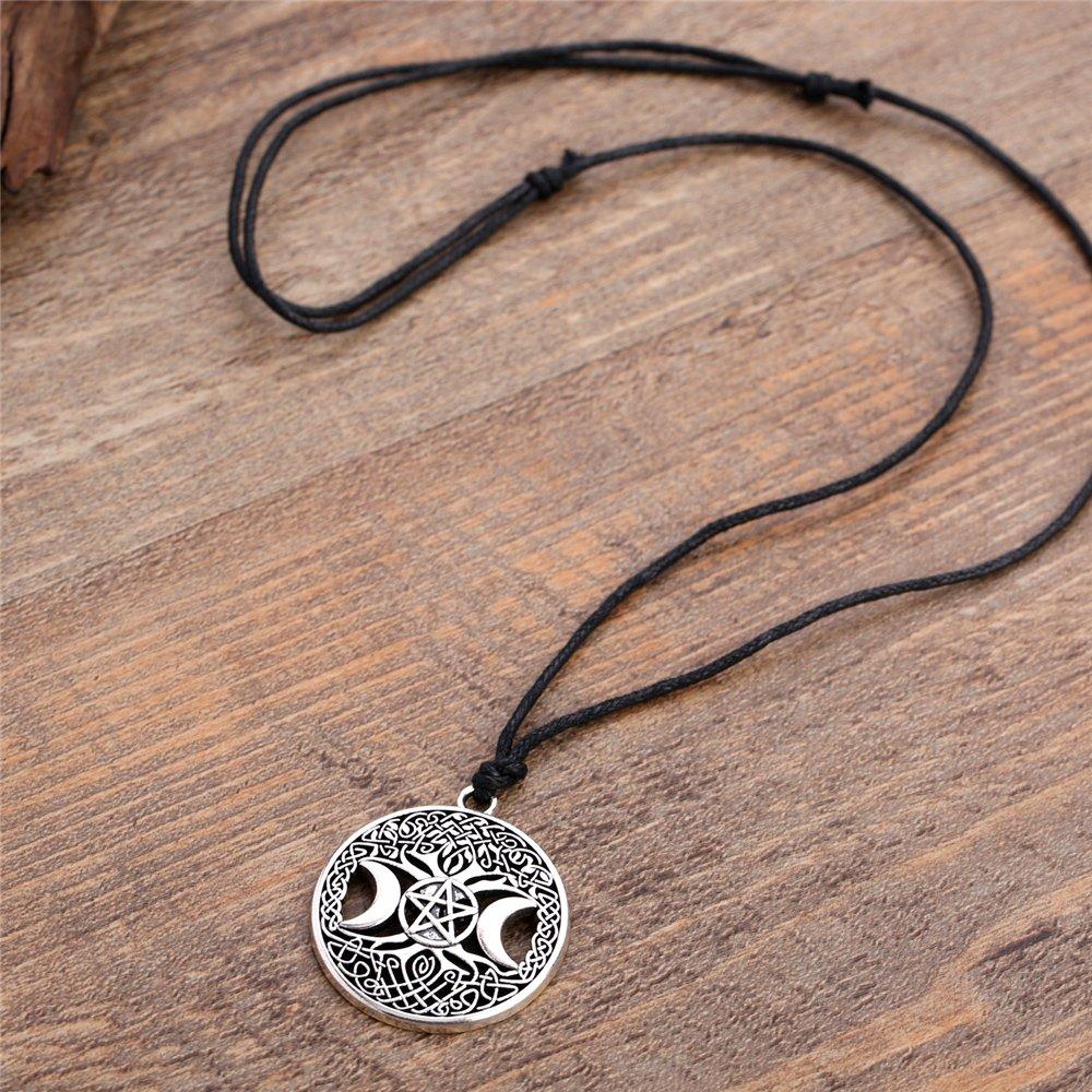 Collana con ciondolo con albero della vita tripla luna e pentacolo Wicca