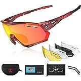 Óculos de sol esportivos polarizados X-TIGER para ciclismo com 5 lentes intercambiáveis para homens e mulheres