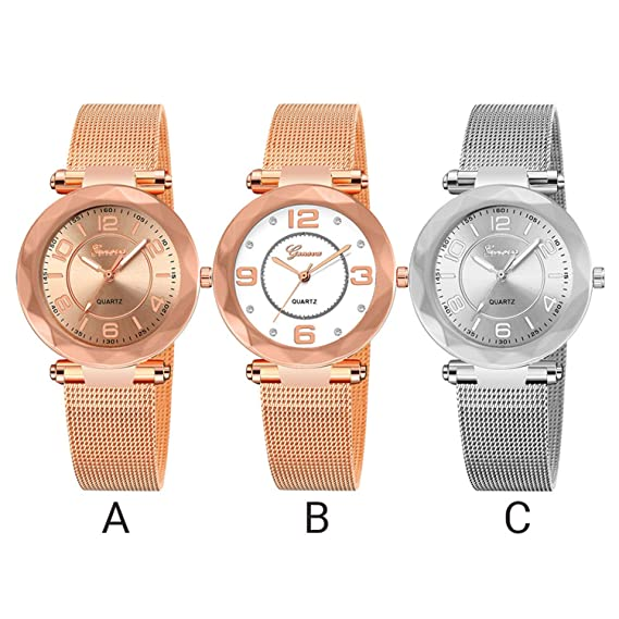Amazon.com : naivety Vintage Ladies Watch Luxury Female Stainless Steel Mesh Quartz Wrist Watch Rose Gold Women Watches Relojes para Mujer(A, ...