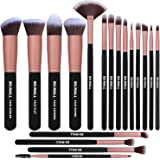 BS-MALL Makeup Brushes Premium Synthetic Foundation Powder Concealers Eye Shadows Makeup Brush Sets, Rose Golden, 18 Pcs