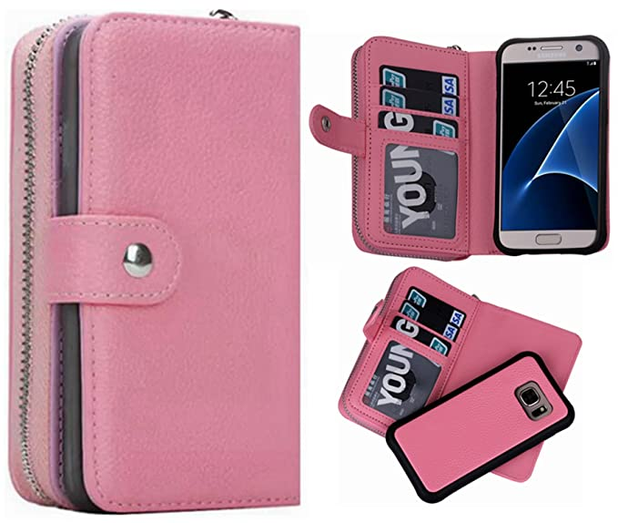 the best attitude db849 e8a87 S6 Wallet Case, Hynice Samsung Galaxy S6 Wallet Purse Case Leather Zipper  Case with Credit Card Slots and Magnetic Detachable Slim Cover for Samsung  ...