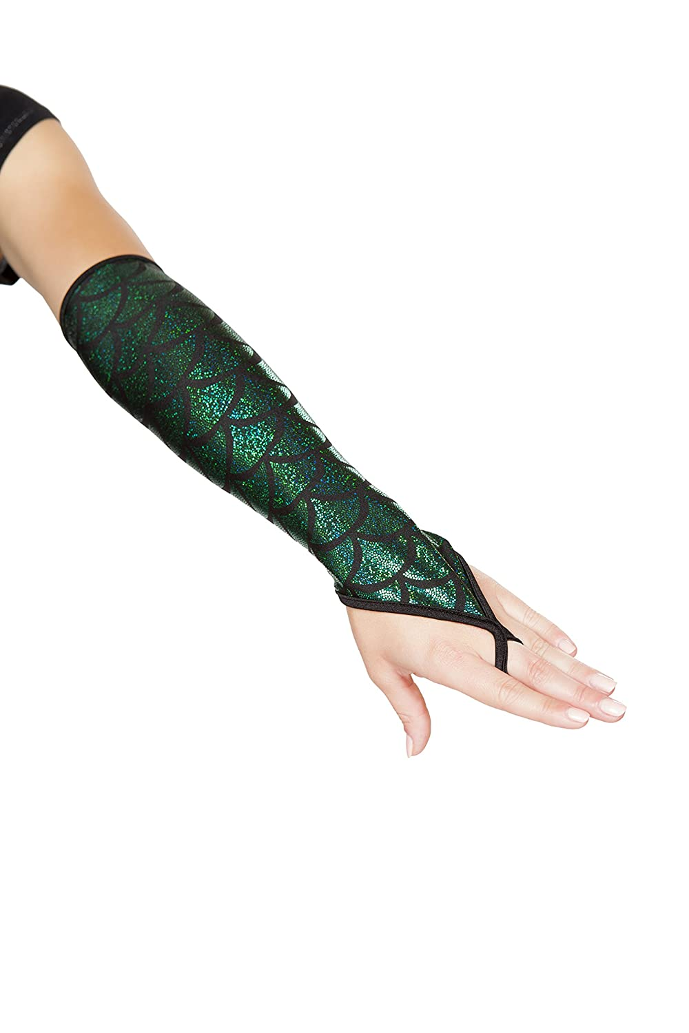Sexy Women's Shimmery Mermaid Green Fingerless Elbow Length Gloves - DeluxeAdultCostumes.com