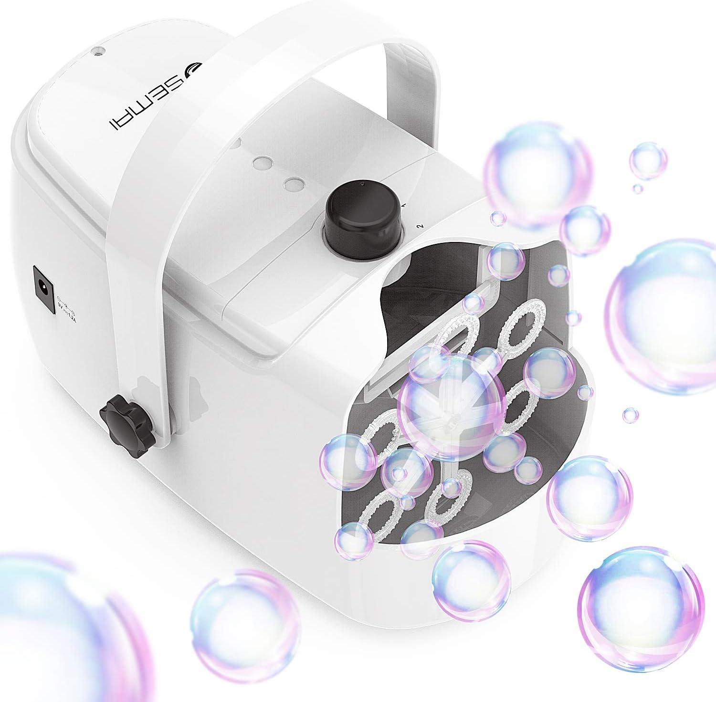 Máquina de pompas de jabón, portátil, funciona con pilas o enchufe, máquina de espuma automática para exteriores, fiestas, bodas, cumpleaños, día de San Valentín