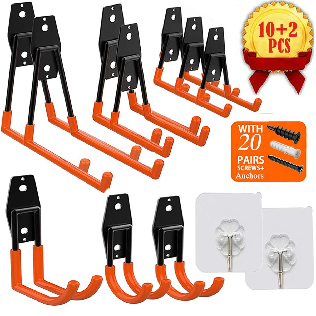 Garage Storage Utility Hooks, UNIHAO Tool Hangers Steel Heavy Duty Hooks Wall Mount Tool Holder Garden Organizer for Hanging Power Tools, Ladders, Ropes, Bikes Hanger, 10 Pcs with 2 Pcs Wall Hooks by UNIHAO