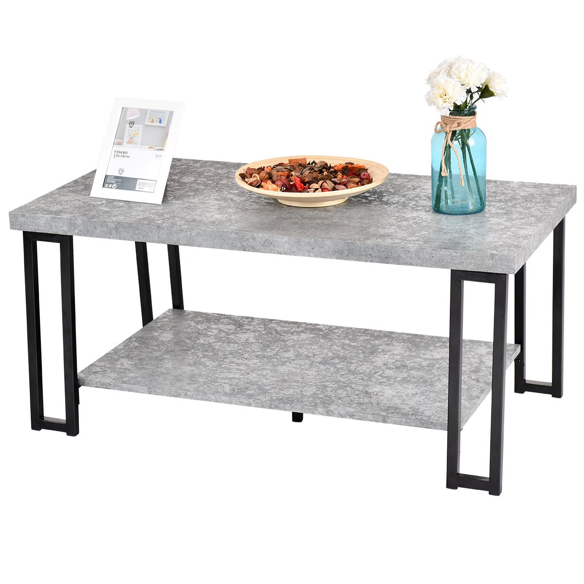 Giantex Accent Modern Coffee Tea Table Living Room Tables Faux Marble Top Metal Frame Cocktail Table (39.5''L x20''W x18''H w/Storage Shelf, Cement Color)