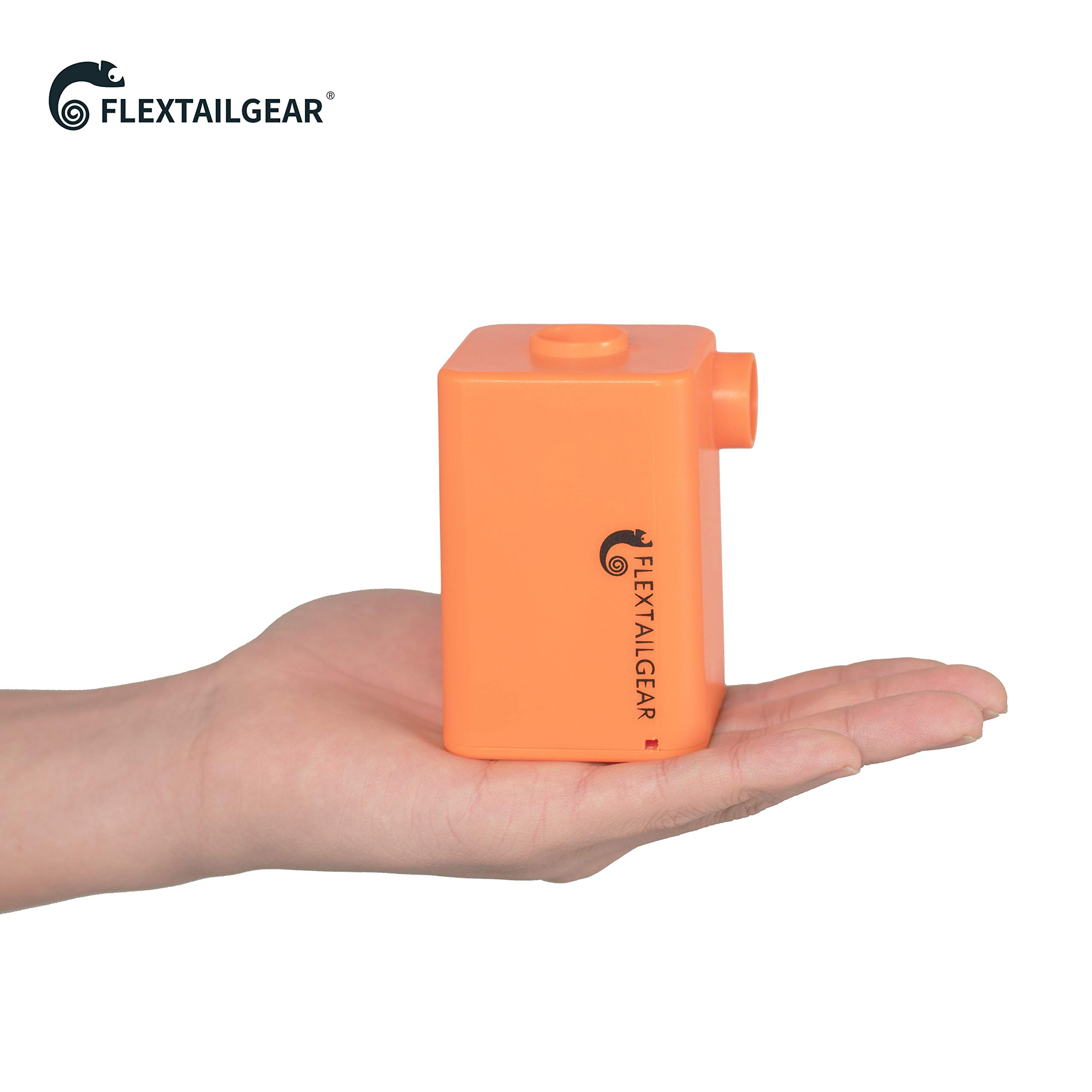 FLEXTAILGEAR Portable Air Pump with 3600mAh Battery USB Rechargeable Lightest Air Pump to Quick Inflate Deflate for Pool Floats Air Bed Air Mattress Swimming Ring (Orange)