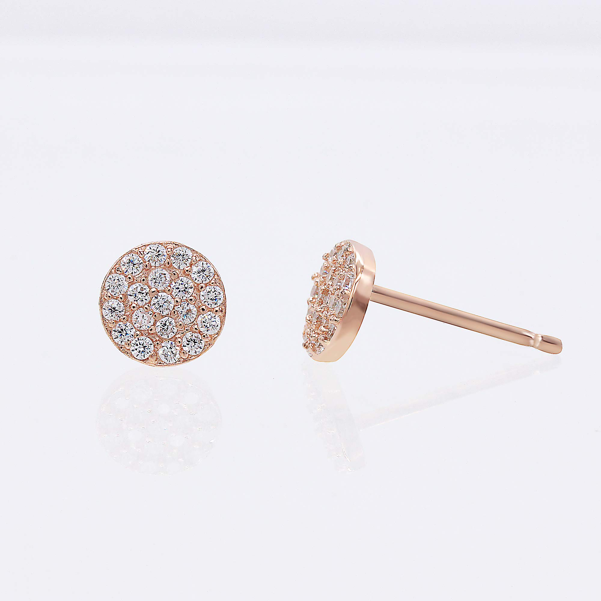 14k Rose Gold-Plated Sterling Silver Cubic Zirconia Mini Circle Pave Disc Stud Earrings 6mm Diameter