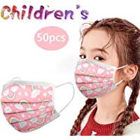 50-Pack Kawaii Kids Disposable Face Mask with Elastic Earloop and Nose Wire for Protection