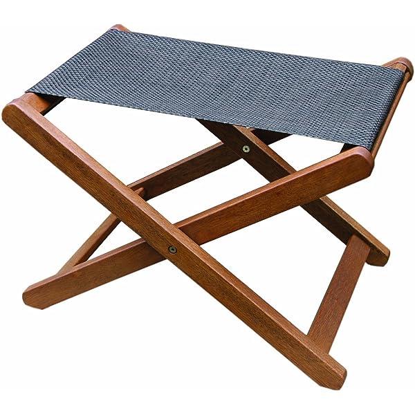 Terrific Amazon Com Outdoor Interiors Sling And Eucalyptus Ottoman Cjindustries Chair Design For Home Cjindustriesco