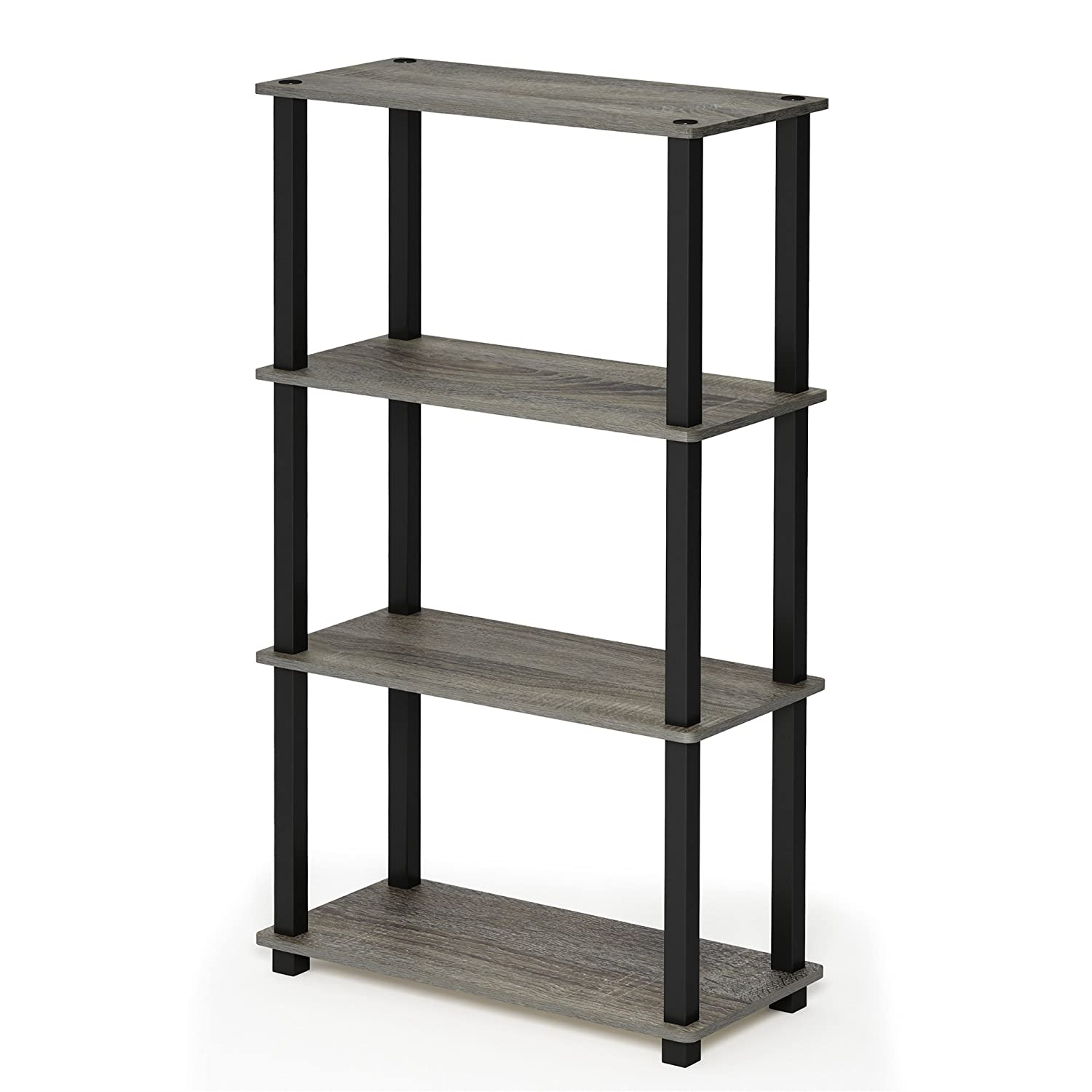French Oak Grey Black 4-Tier Square Tubes Furinno 17091BE WH Turn-N-Tube 5-Tier Compact Multipurpose Shelf, Single, Beech White
