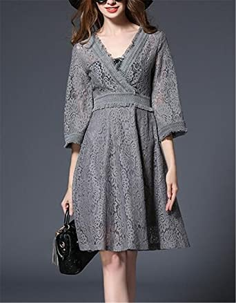Kongsta New New Brand Autumn Women Knitting Lace Dress Black Gray Casual Tassel Hole Party Knee