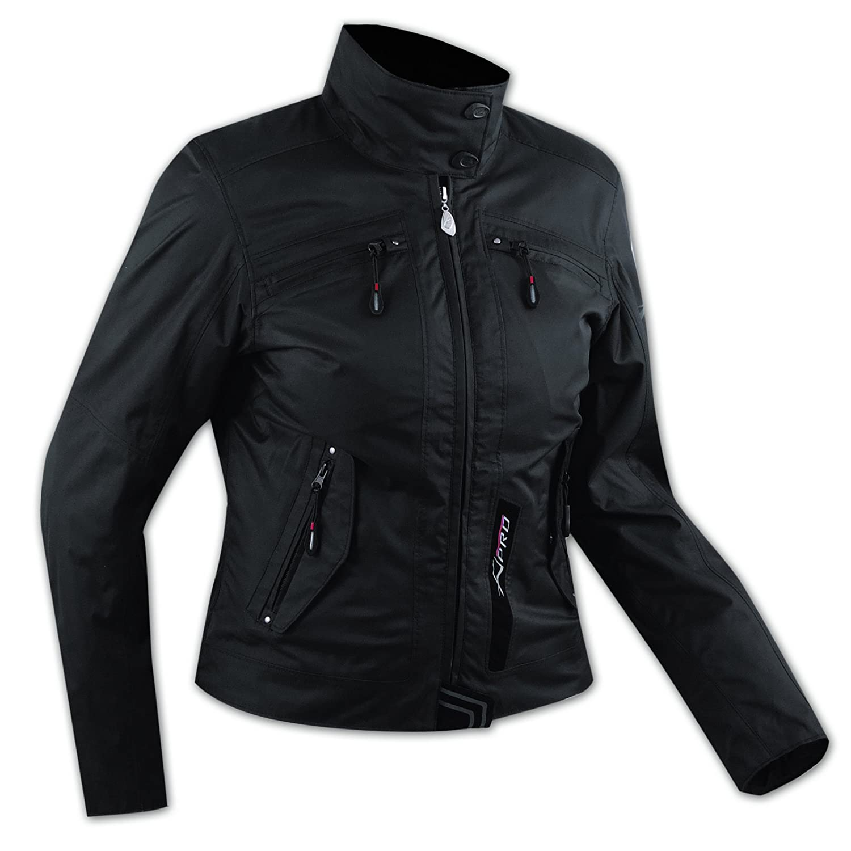 A-Pro Damen Textil Wasserdicht CE Ruestung Thermofutter Jacke Motorrad Schwarz S