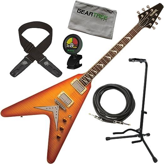 Hamer vecf-hb Vector llama Top Honeyburst Flying V Guitarra ...