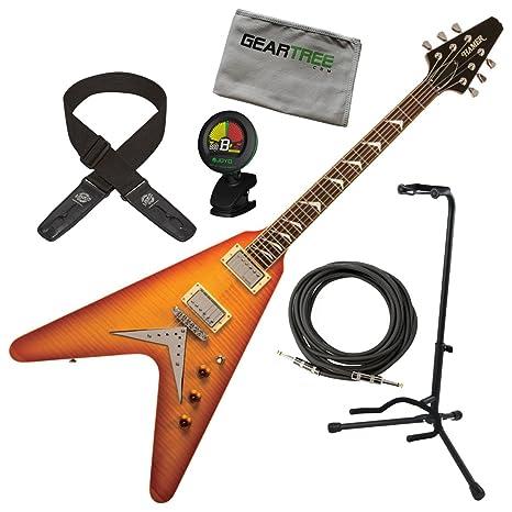 Hamer vecf-hb Vector llama Top Honeyburst Flying V Guitarra eléctrica w/geartree gamuza