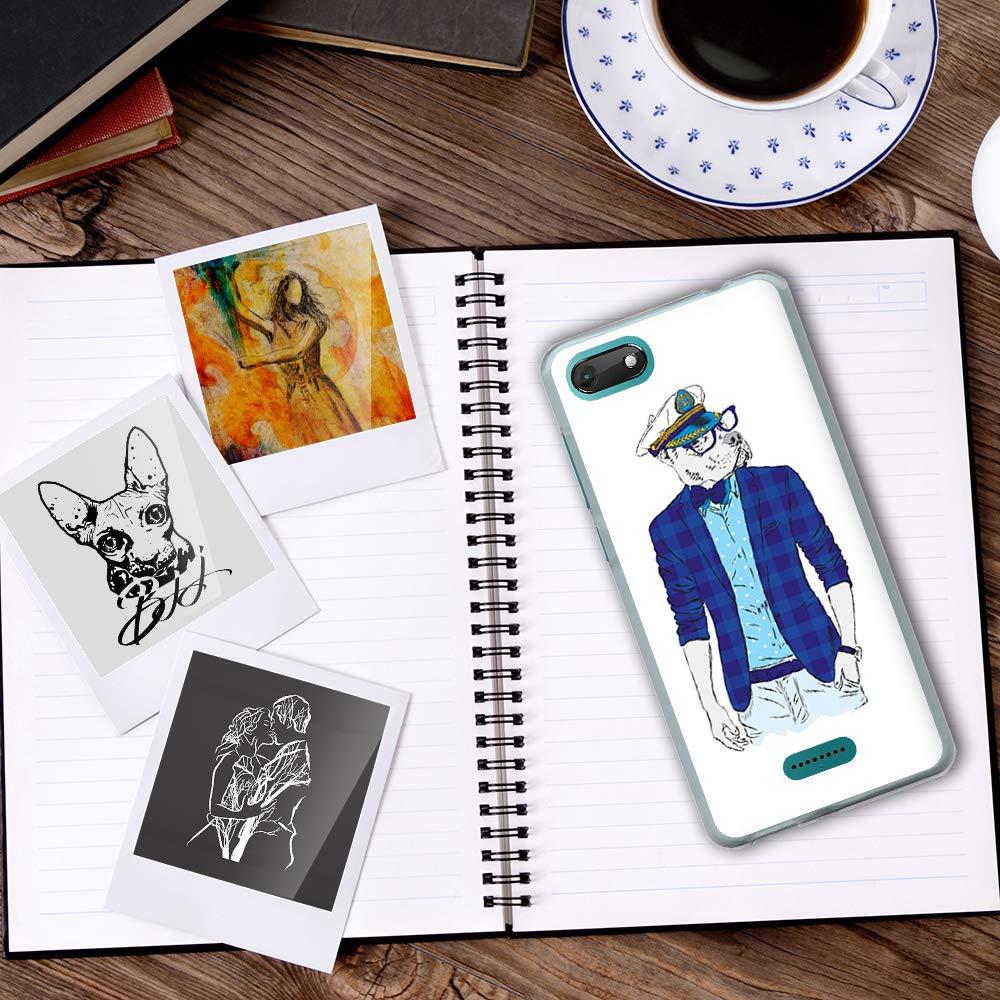 BJJ SHOP /Étui Transparent pour Coque en Silicone Souple TPU Wiko Harry 2 Design: Pitbull avec Pendentif en Or