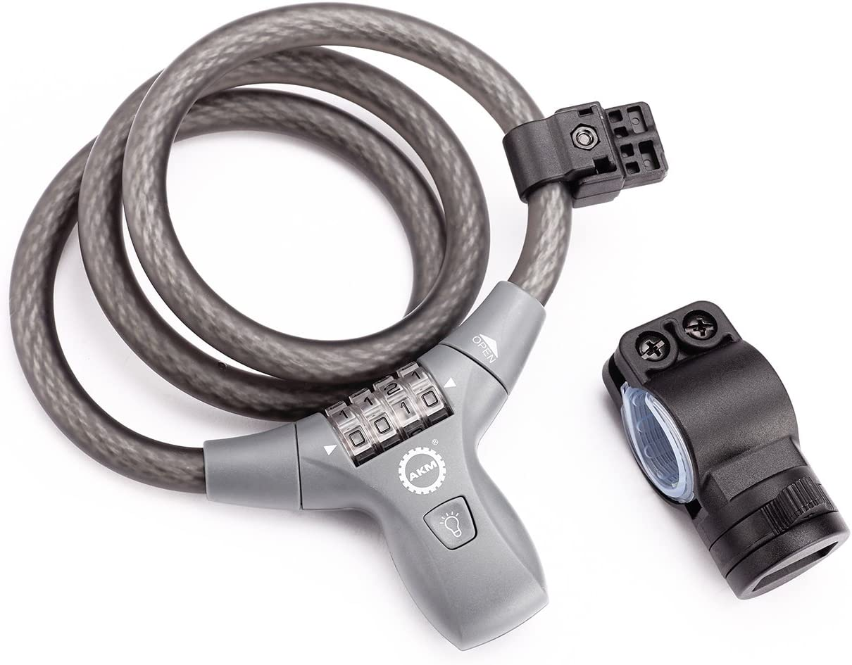 AKM Combination Bike Lock,Compact Bike Cable Lock Self Coiling Resettable Combination with Complimentary Mounting Bracket