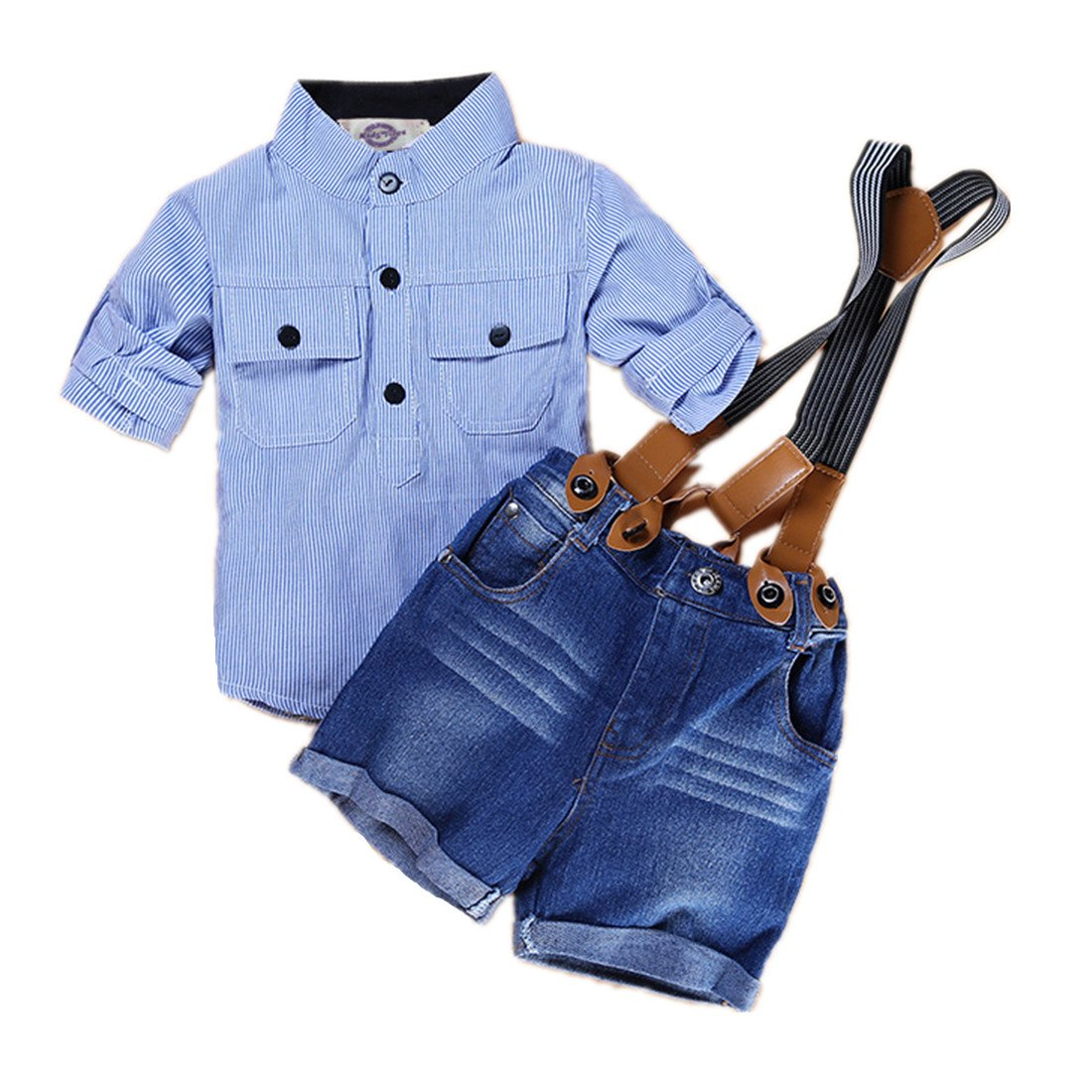 Amberetech Baby Boys Suspender Shorts Set Denim Overalls Outfit Cotton Long Sleeve Blue Stripe Shirt Two-Piece Suits