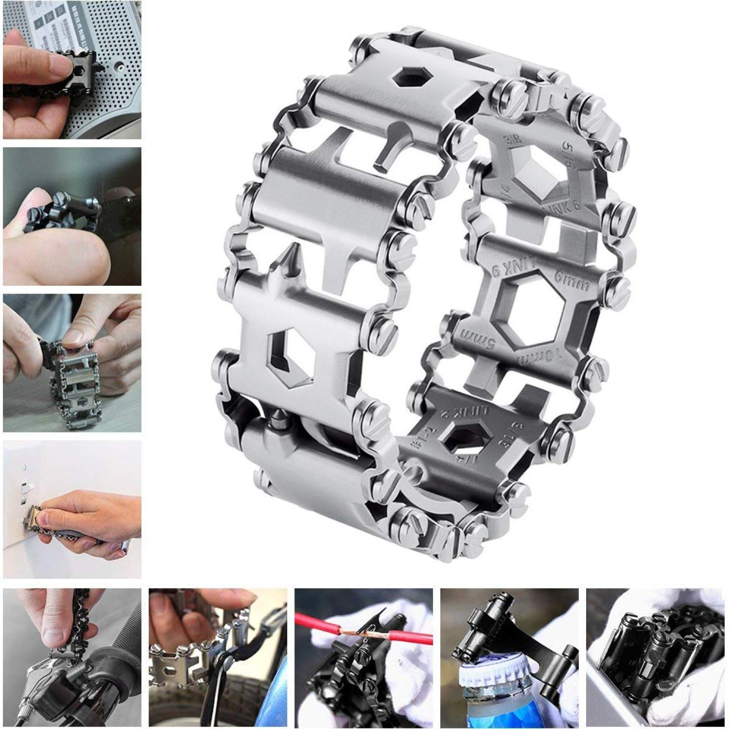 Diamond Survival Multitools Silver Bracelet – Original Travel Friendly Wearable Wilderness Bracelets for Sailing Travel Camping Hiking