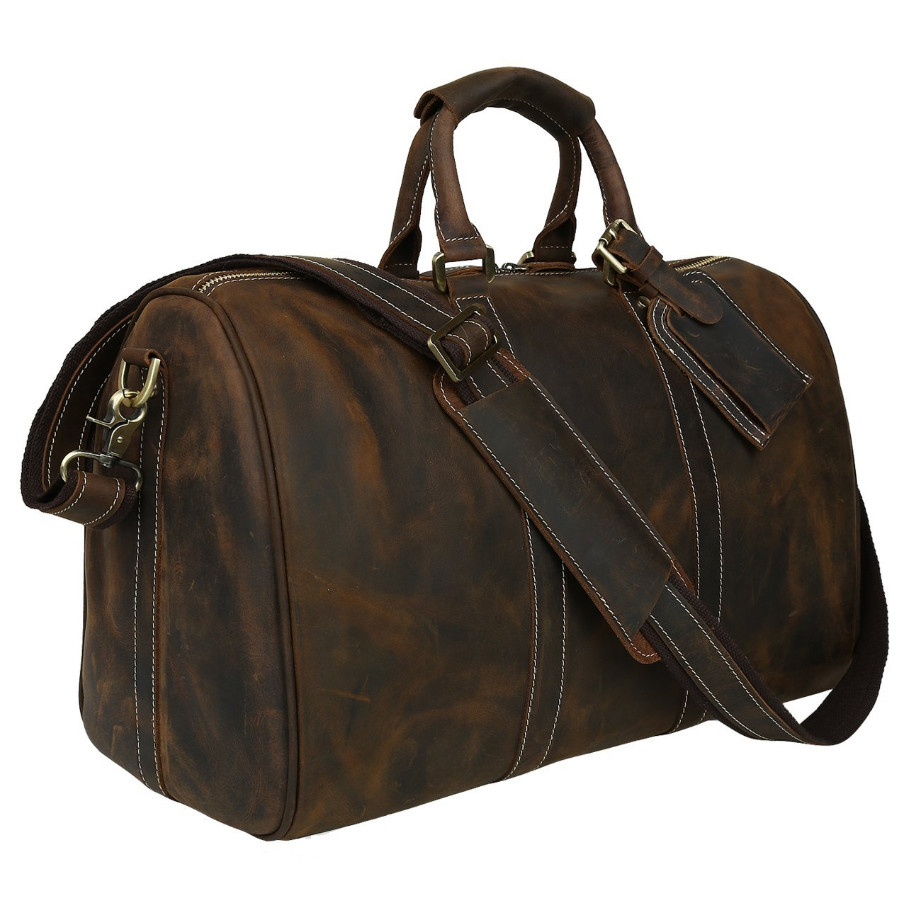 Polare Men's 18'' Retro Real Leather Weekender Duffel Overnight Bag Carry On Luggage by Polare