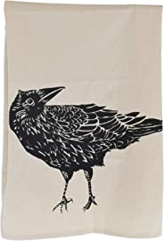 Organic Cotton Crow Tea Towel in Black