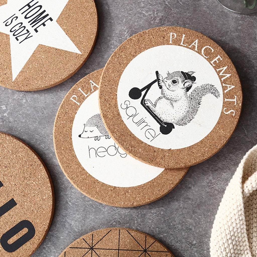 Coasters with Holder Round Creative Coaster Cork Insulation Mat Placemat Pot Mat Nordic Home Coffee Cup Mat Wooden Anti-hot Table Mat Cup Holder Coasters by Zunruishop