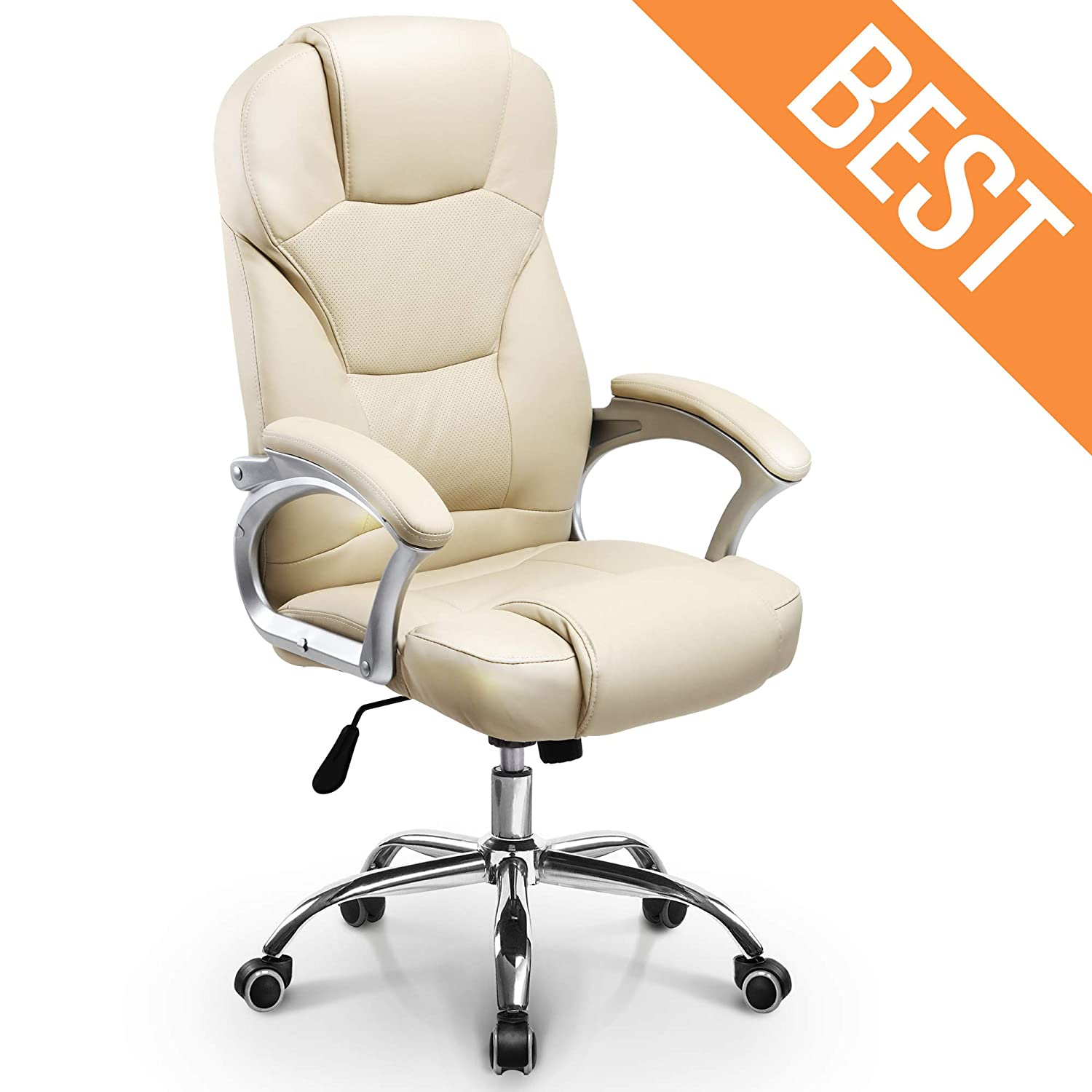 Neo Chair Office Chair Computer Desk Chair Gaming – Ergonomic High Back Cushion Lumbar Support with Wheels Comfortable White Leather Racing Seat Adjustable Swivel Rolling Home Executive
