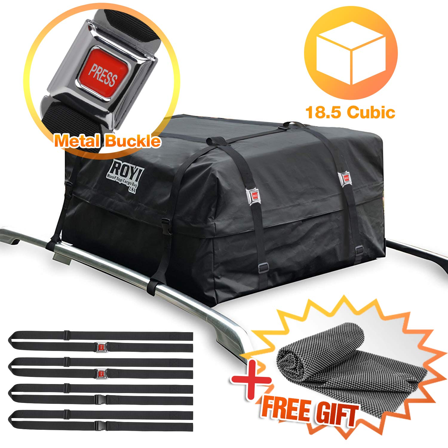 100% Waterproof Roof Cargo Bag 18.5 Cubic Ft Dual Seam with Heavy Duty Metal Buckle Straps Top Carrier Storage Box Bonus 1 Rooftop Protective Mat Fit for Cars with/Without Racks(4 Straps) BOVN