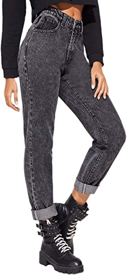Amazon Com Shein Vaqueros Para Mujer Estilo Casual Moderno Con Boton De Cintura Media Con Parte Delantera Clothing