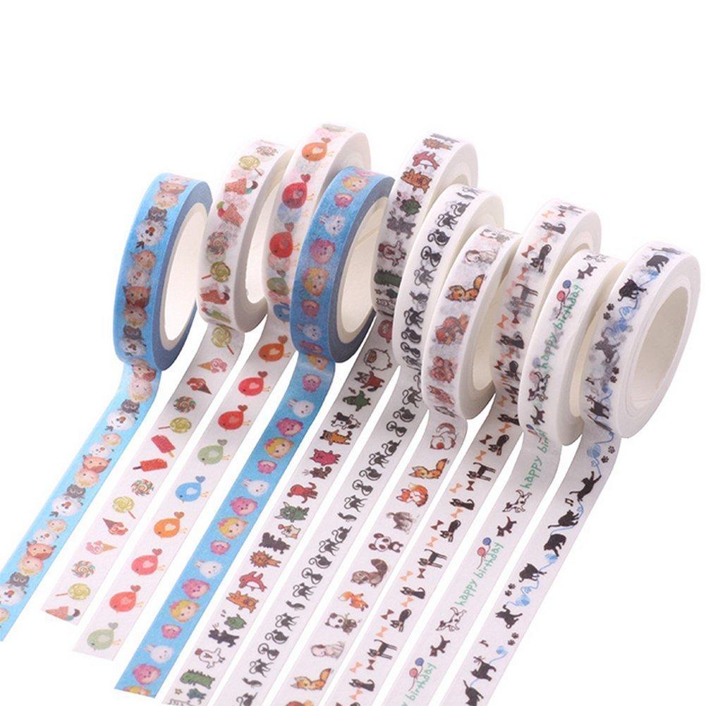 Hilai 10 rotoli animale modello Washi tape set coprente nastri decorativi per DIY scrapbooking Crafts Wrapping sottile