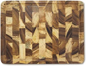 roro Rectangular End-Grain Acacia Kitchen Wood Cutting Board and Block