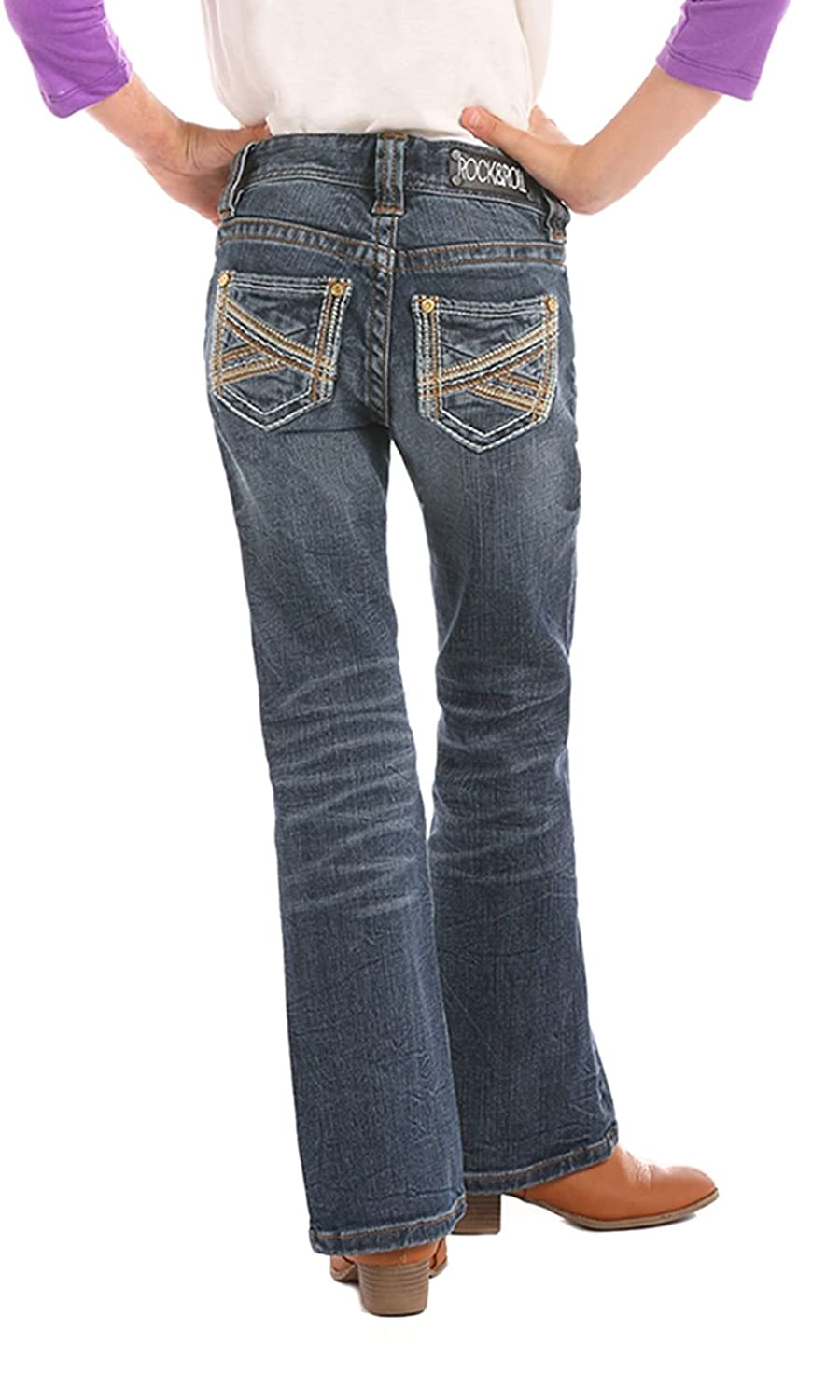 Rock /& Roll Cowgirls Girls Boot Cut Western Jeans