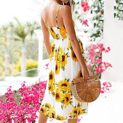 Amazon.com: ShenPr Womens Sling Sunflower Printing Sleeveless Botton Dress Ladies Pocket Party Mini Dress: Clothing