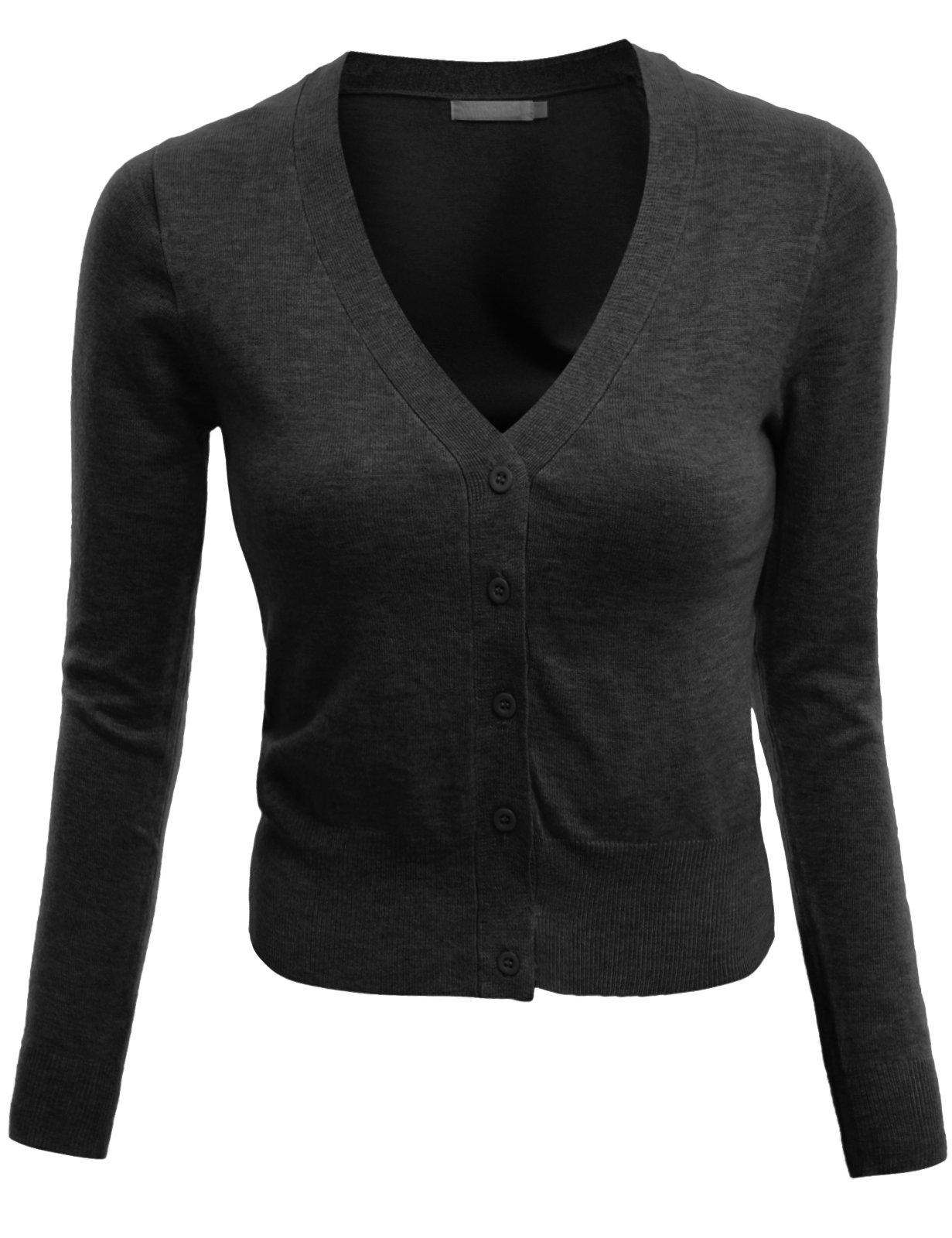 Doublju V-Neck Button Down Fine Knit Crop Cardigan (Plus size available) CHARCOAL X-LARGE