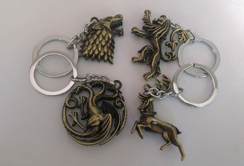 Amazon.com: 4pcs Game of Thrones Llavero colgantes encantos ...